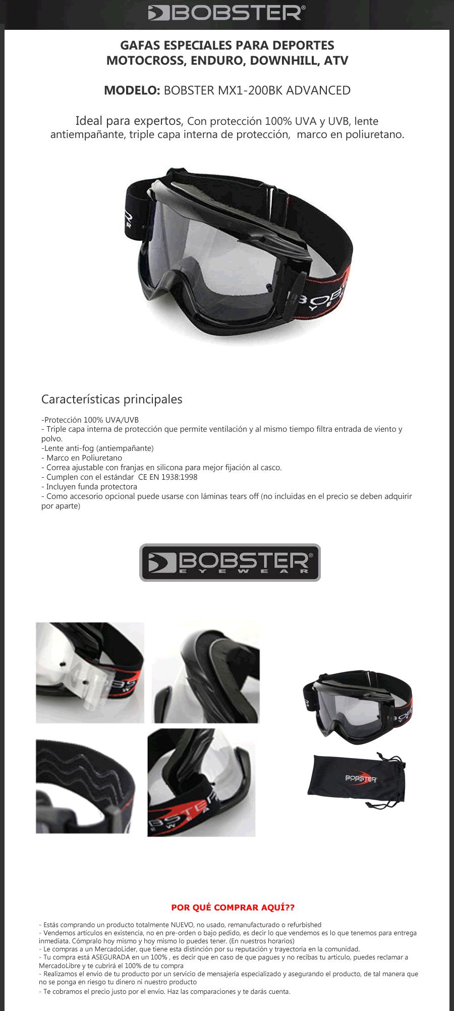 goggles bobster gafas bmx atv